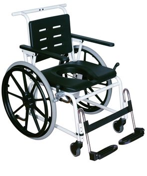 Combi Self Propelling Shower Commode Chair: with optional calf & heel strap fitted