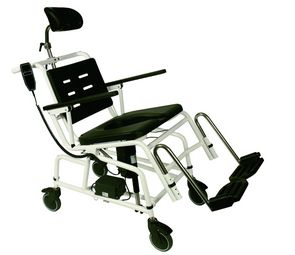 Combi Powered Tilt-in-Space Shower Commode Chair: Showing optional Headrest