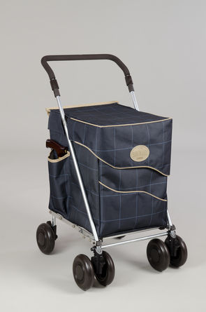 Sholley® Deluxe Shopping Trolley: Dark Blue Bag with Check Pattern